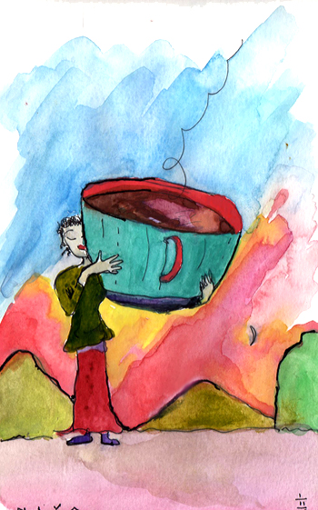 "Watercolor by Niya Christine. ""Coffee Hug."" Copyright 2013"