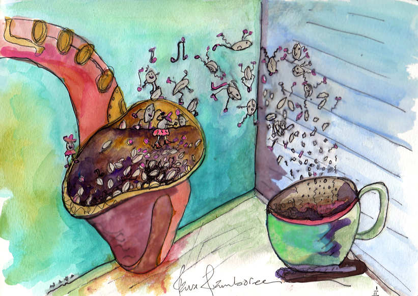 "12/365. Watercolor by Niya Christine. ""Java Jamboree."" Copyright 2013"