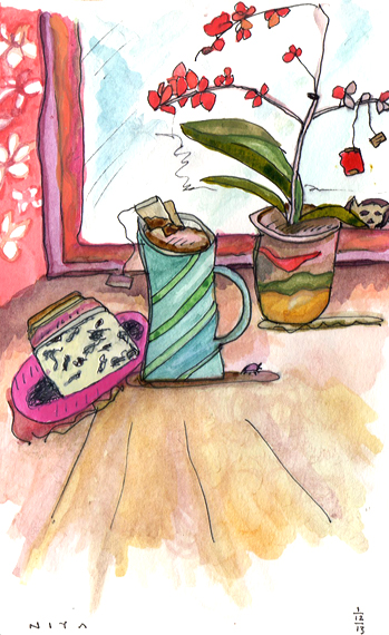 "Watercolor by Niya Christine. ""Teatime Afternoon."" Copyright 2013"