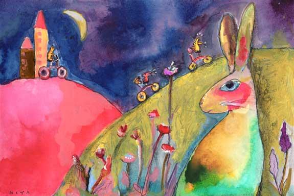 Rabbit Painting by Niya Christine. Copyright