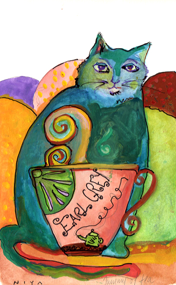 Cat with Tummy full of Tea, Gouache #15/365 by Niya Christine. Copyright 2013