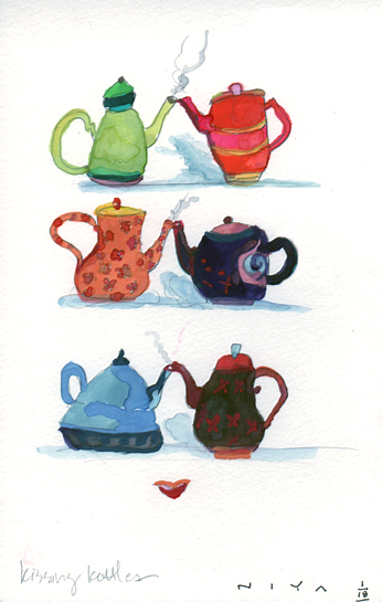 Kissing Kettles.  18/365 Watercolor by Niya Christine.  Copyright 2013