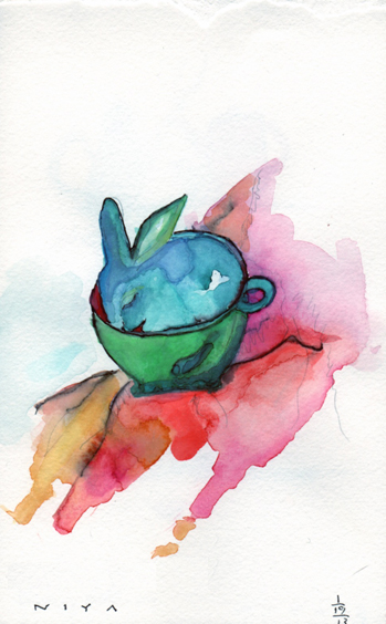 """Cuppa Bunny"" Watercolor by Niya Christine. Copyright 2013"