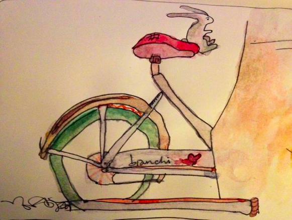 Bunny on a Bianchi. Watercolor by Niya C. Sisk