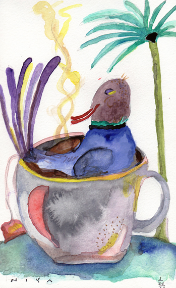 """Darjeeling Duck"" Watercolor by Niya Christine. 21/365. Copyright."