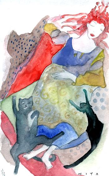 """Sleepy Time Girl"" Watercolor by Niya Christine. Copyright 2013"