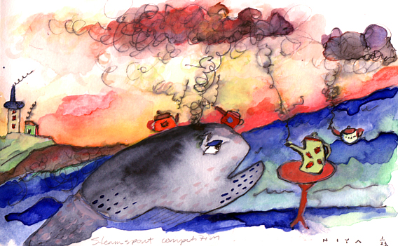 Steamers Competition. Watercolor by Niya Christine. Copyright