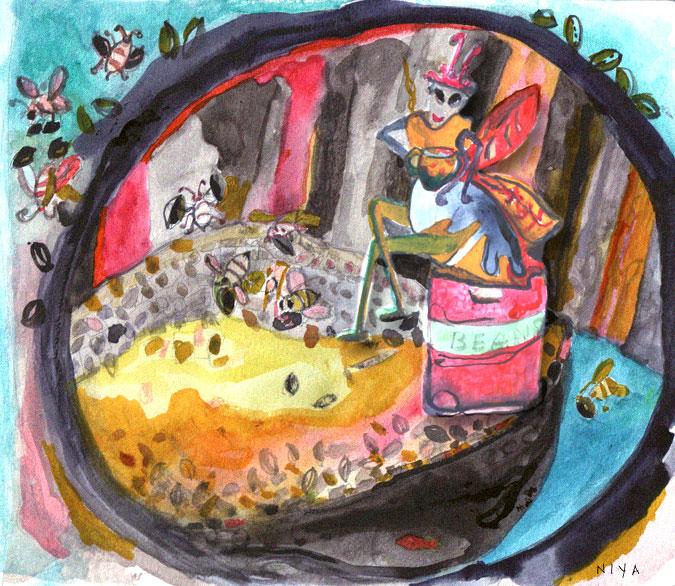 """Bees Gone Bad"" Gouache + Digital by Niya Christine. Copyright"