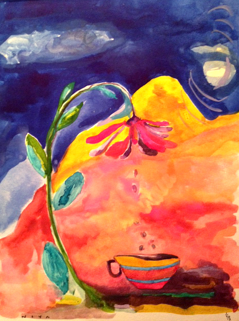 Watercolor by Niya Sisk. Evening Primrose. Copyright