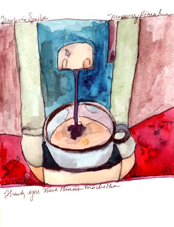 Espresso in Italy, Watercolor by Niya Christine. Copyright