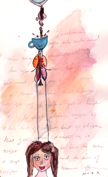 Lofty Thoughts of Coffee. Watercolor by Niya Christine. Copyright