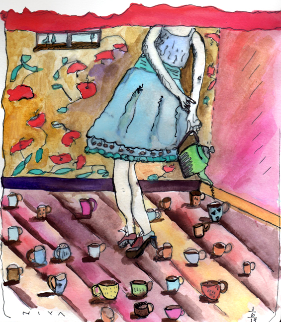 "Niya Christine Watercolor. ""A Lotta Cuppa"" ... 7/365. Copyright 2013"