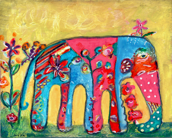 Elephant painting on wood. Niya Christine. Copyright