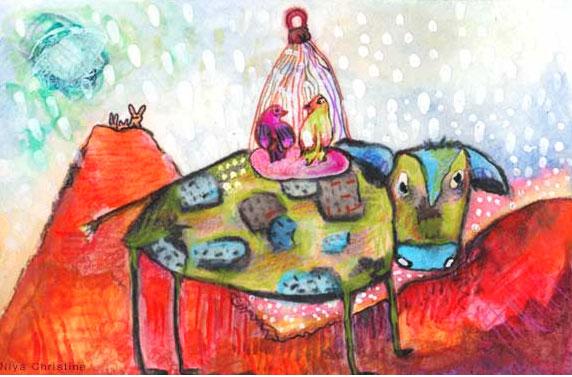 A Sensitive Cow. Painting By Niya Christine. Copyright