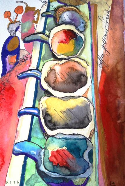 "Niya Christine's 5/365 Paintings 2013. Gouache, ""Coffee Gets Fresh"" Copyright 2013"