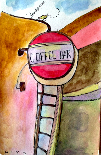 #3/365 | Coffee Bar~Drunk Pigeon Painting by Niya Christine