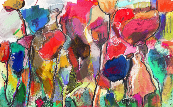 Watercolor, pastel, pen
