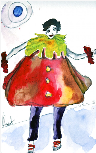 Pierrot Character: Watercolor by Niya Christine. Copyright