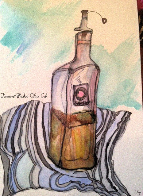 Olive Oil Watercolor by Niya C. Sisk