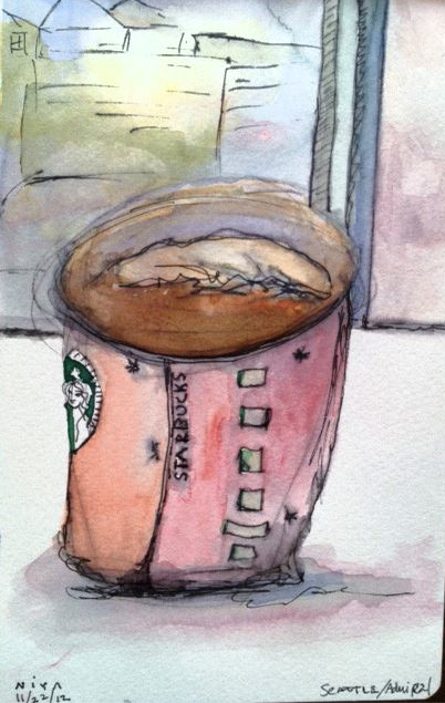 Starbucks quick sketch by Niya C Sisk at niyachristine.com