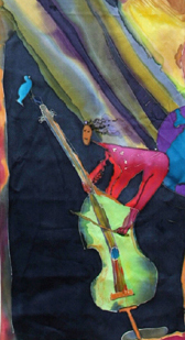 Girl Riding Cello Silk Painting by Niya Christine