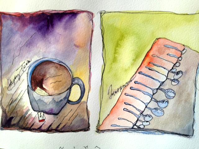 Steeping-Tea-and-Spoons Watercolor by Niya Christine