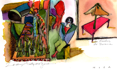 Farmers Market, France. Watercolor by Niya Christine